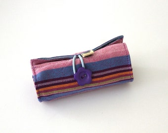Crayon Roll, Purple, Blue striped on Pink Kikoy, Take-along Crayons