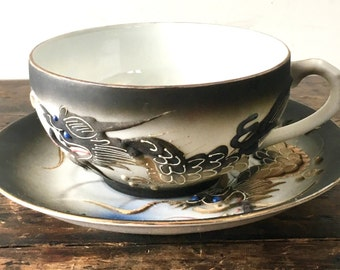 Vintage Dragonware Geisha Teacup and Saucer, Japan Moriage Lithopane