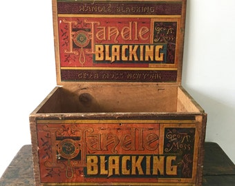 SALE Antique Handle Blacking Shoe Polish Box, Geo A. Moss New York