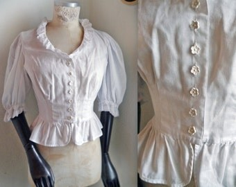 White Blouse Romantic Cute cotton blouse Victorian style ruffled dreamy womens blouse short tailored lace