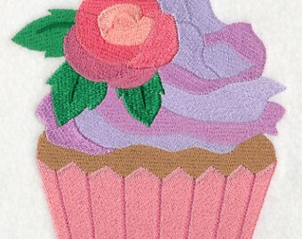 MONTHLY // May Flowers Cupcake Embroidered on Kona Cotton Quilt Block // Plain Weave Cotton Dish Towel // Also Available on Other Items