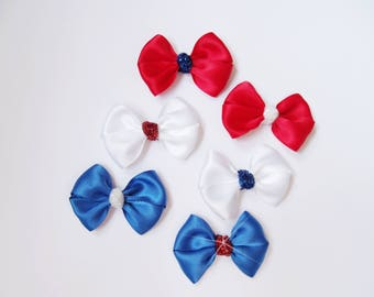 Red, White, and Blue Patriotic Satin Glitter Mini bows - Itty Bitty Toddler Pig Tail Bows - Newborn Baby Headband