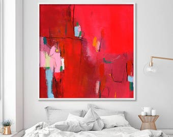 "Giclée print of Abstract art Acrylic painting Extra large wall art ""My new dress 1""  Bold Red painting with pink"