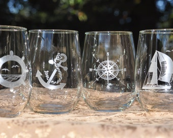 Nautical Wine Glasses Sailboat - Ships Wheel, Compass Rose, Anchor - Choose 16oz or 21oz - 2nd Side Engraved Optional