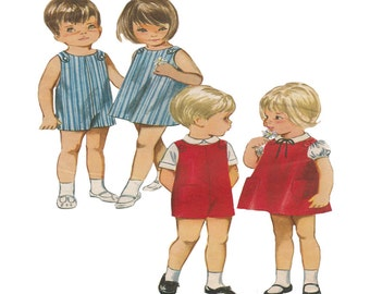 Uncut Dress and Romper or Jumper Vintage 1960s Quick n Easy Brother and Sister Outfits Size 2 Breast 21 Butterick Sewing Pattern 3489