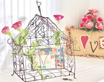 Hearts Rustic Wire Bird Cage for Wedding or Home and Garden Decoration