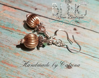 24kt over lay & Sterling Silver Crystal Earrings