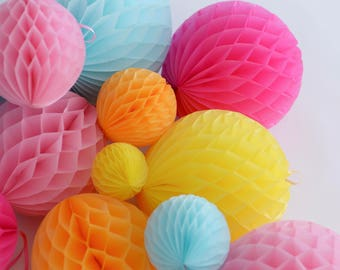 Bright and pink party set - 8 mixed sizepaper HONEYCOMB BALLS -wedding party decorations - nursery decor