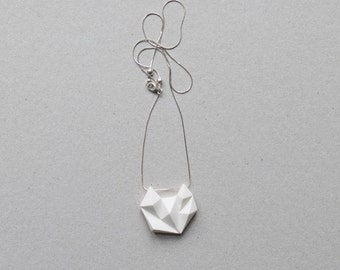 White minimalist geometric triangle silver necklace. minimal cat fox animal shape