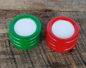 Vintage Red and Green Round Plastic Christmas Ornament Frames Set of 8