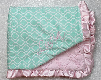 Minky Blanket, baby girl blanket, personalized blanket, embroidered, mint and pink trellis tile soft blanket, ruffle blanket, baby gift