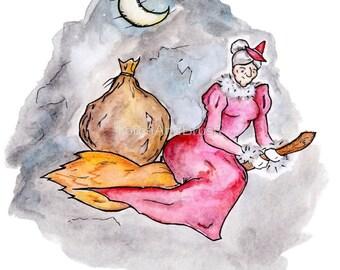 Befana's Flight - La Befana Italian Christmas Witch Epiphany Watercolor Painting