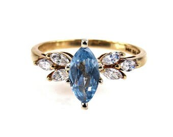 Marquise Blue Topaz CZ Gold Ring|Size  US 7.75
