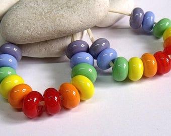 Pride Rainbows, Lampwork Spacer Beads, SRA, UK