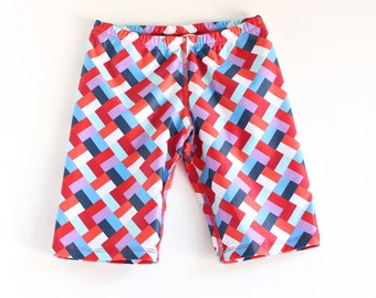 Boys Blue and Red Geo Design Swimming trunks, swim shorts.