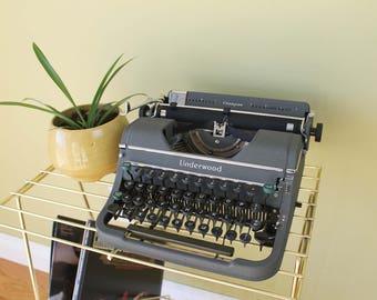 Underwood Champion Typewriter, Vintage Typewriter, Industrial, Manual Typewriter, Gray Typewriter