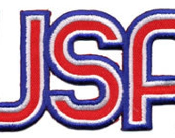 Embroidered Iron-On USA , 4+5/8 x 2+3/8 inch