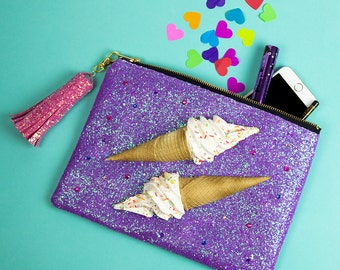 Glitter 3D Ice Cream Clutch Bag