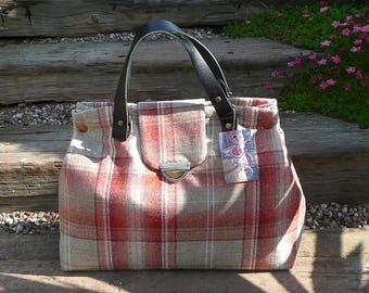 Tote, Handbag, Large Day Bag, Tweed Hand Bag, Orange tweed, Taupe wool tweed bag