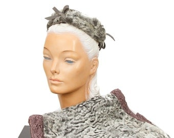 1940s Persian Lamb Fur Muff Hat Set in Grey