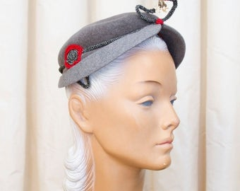 SPRING SALE 1950s Hat // Antennae Two Tone Grey Wool Beaded Trims Hat