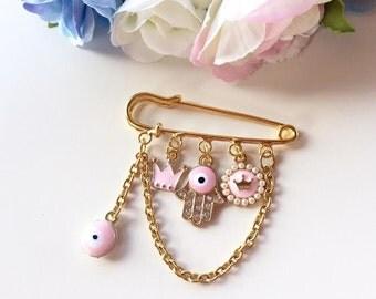 Neshuma Evil Eye Hamsa Stroller Pin Brooch Newborn Baby Shower Gift