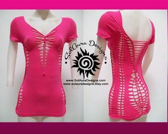 PRETTY IN PINK - Juniors / Womens Cut and Weaved Hot Pink Top, Yoga Wear, Beach Wear, Club Wear, Festival Wear, Burning Man Wear