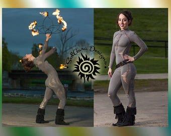 MYSTIC GODDESS - Juniors / Womens Cut and Weaved, Catsuit - Festival Wear, Performance Wear, Burning Man Wear
