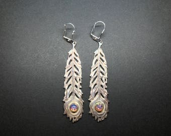Peacock Feather Earrings with Czech Glass Stones