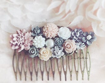 Plum Wedding Comb Soft Pink Light Pale Lilac Hair Comb Gray Mauve Taupe Dusty Blush Flower Head Piece Woodland Bridal Floral Hair Pin PM
