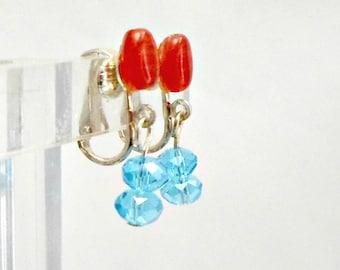 Handmade earrings watermelon top azure blue dangle clip on Pat2