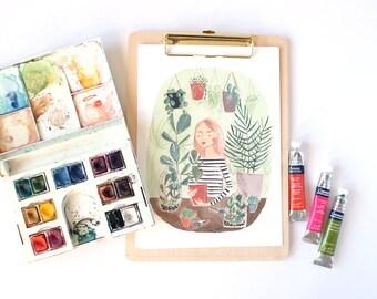 Plant Lady A4 Art Print