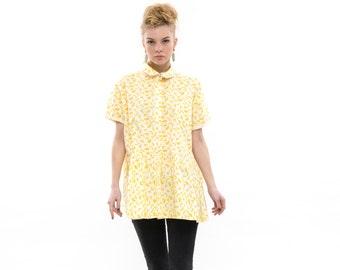 Go Go Banana Peplum Shirt, Casual Button Down Shirt, Classic Cotton Collared Shirt, Trendy Womens Everyday Fashion Top, Versatile Blouse