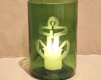 Up-cycled Wine Bottle Vase/Hurricane- Anchor Frosted Design
