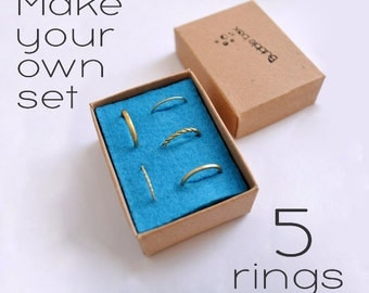Minimal Rings Set Of 5 / Gifts for Women / Stacking Rings / Everyday Rings Set / 5 Stackable Rings Pack / Wire Rings / Cute Multi Rings