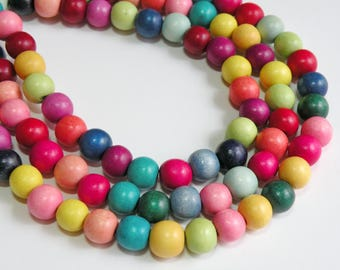Rainbow wood beads round bright colorful eco-friendly Cheesewood 10mm full strand 1621NB