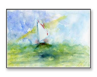 Watercolor painting of a Sailing Boat at sea (PRINT), seascape, water,sailing, boat, 40th  anniversary gift