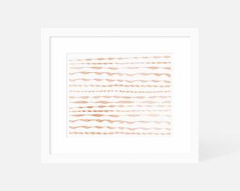 Modern Boho Wall Art / Minimalist Watercolor Art Print / Orange Artwork Horizontal / Matted and Framed / 7x5 10x8 14x11 20x16 24x18