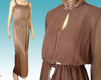 UNWORN 80s Layred Gown Bust 37 Satin & Georgette by Julian Wider - Maxi Dress Bronze USA