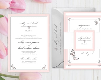 Wedding Invitations - DEPOSIT TO START Fairy Garden Suite - Custom Wedding Invites - Personalized Wedding Invitations - Full Wedding Suites