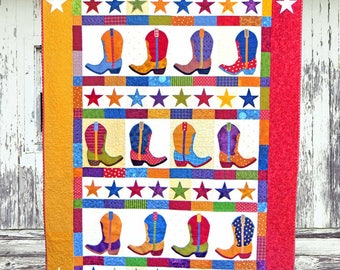 BOOT N SKOOT | pdf Quilt Pattern | Patterns | Quilt Patterns | Cowboy Boot Quilt | Cowboys | Applique Quilts | Happy Quilts | Kids Quilts