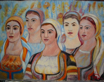 Felt Picture of an Bulgarian Artist the Master,The Five Girls of Divla,Felt Wall Picture,Felt Wall Tapestry,Felt,Felt Wall Veil,Wall Hanging