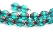 Cathedral barrel beads, Teal Green Czech Glass beads, bronze ends, fire polished - 8x6mm - 15Pc - 1736