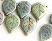 Large leaf Picasso beads mix, Green Grey Lustered leaves, czech glass beads, big size leaf, flat, side drilled - 18mm - 8Pc - 2964