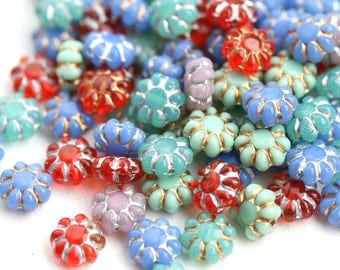 Glass Flower beads Mix, Czech flat daisy beads, mixed colors, Mint, Red, Blue, 9mm - 20Pc - 0648