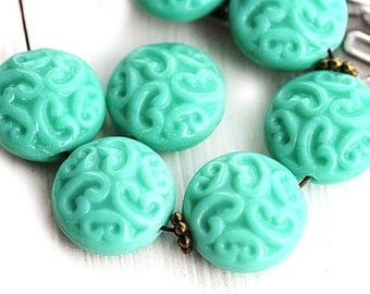 Turquoise ornament beads, Czech glass, Coin beads, turquoise green beads, carved rounds - 14mm - 6Pc - 1084