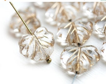 ON SALE 10pc Clear Leaf Beads with Golden inlays, Czech glass leaves, Maple - 11x13mm - 0022