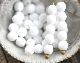4mm Glossy White Czech glass beads, Fire polished  opaque white faceted round spacers - 50Pc - 2561