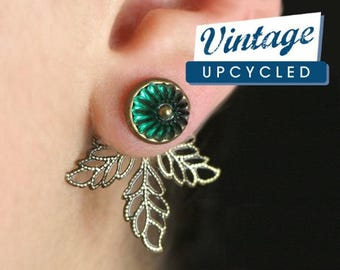 Vintage flower ear jackets. Genuine vintage emerald green glass flowers. Bronze leaves. Double stud earrings. Earrings for her.