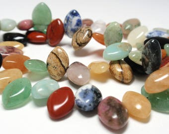 "Multi Mix Briolette Stone Beads, 8 x 11mm Natural Multi Color Gemstone Briolette Beads, 16"" Strand - 59 Beads"